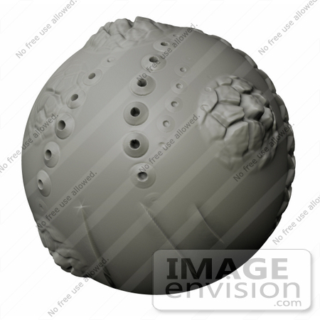 #40982 Clip Art Graphic of a Gray Volcanic Alien Clay Planet On A White Background by Jester Arts