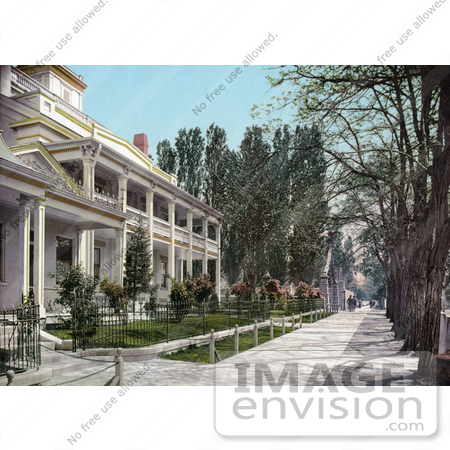#41016 Stock Photo Of A Sidewalk In Front Of The Bee Hive House In Salt Lake City, Utah by JVPD