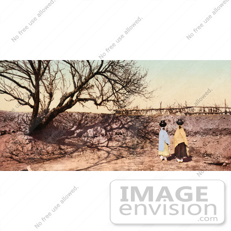 #41018 Stock Photo Of Pueblo Natives Carrying Water Urns On Their Heads, Going To The Spring To Gather Water, New Mexico by JVPD