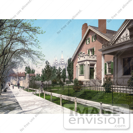 #41022 Stock Photo Of A Sidewalk In Front Of The Lion House In Salt Lake City, Utah by JVPD