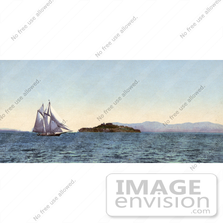 #41048 Stock Photo Of A Boat Sailing Near Alcatraz Island On The Golden Gate, San Francisco, California by JVPD