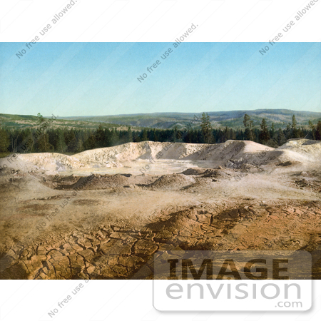 #41051 Stock Photo Of The Paint Pot And A Line Of Evergreen Trees At Yellowstone National Park, Wyoming by JVPD