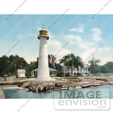 #41070 Stock Photo Of The White Biloxi Lighthouse In Biloxi, Mississippi by JVPD