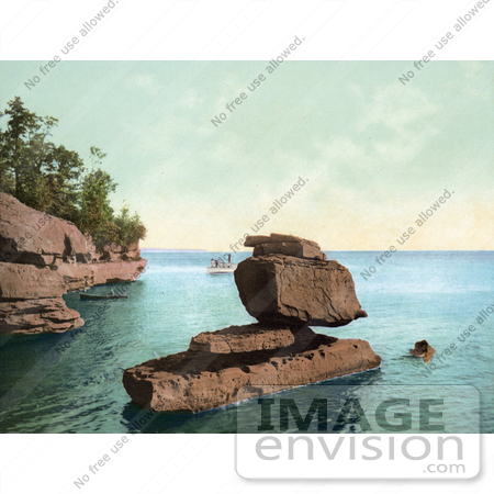 #41076 Stock Photo Of Boats Near The Sphinx Rock Formation At The Apostle Islands On Lake Superior, Wisconsin by JVPD