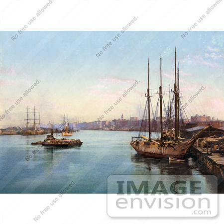 #41079 Stock Photo Of Ships At The Pier On The Savannah River In Savannah, Georgia by JVPD