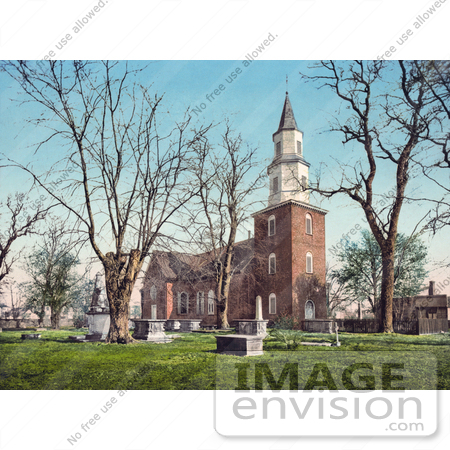 #41080 Stock Photo Of Graves And The Episcopal Bruton Parish Church In Williamsburg, Virginia by JVPD