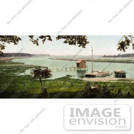 #41092 Stock Photo Of A Boat House And Pier At The Site Of Old Fort Bayou, Ocean Springs, Mississippi by JVPD