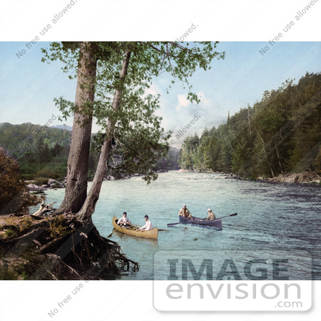 #41095 Stock Photo Of Four Men Canoeing In A Stream In The Adirondack Mountains, New York by JVPD
