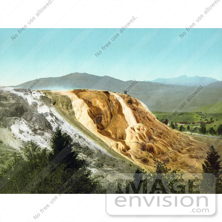 #41096 Stock Photo Of People Standing On Top Of Jupiter Terrace In Yellowstone National Park, Wyoming by JVPD