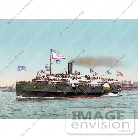 "#41098 Stock Photo Of Steamer ""City Of Erie"" Of The Cleveland And Buffalo Line, Transporting Passengers by JVPD"
