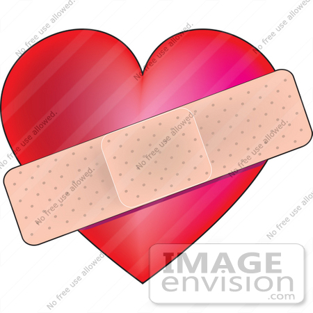 #41103 Clip Art Graphic of a Bandage Over a Heart, Symbolizing Heat Health or The Pains of Love by Maria Bell