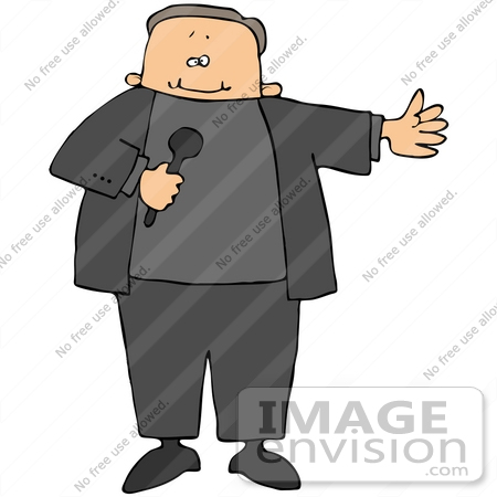 #41104 Clip Art Graphic of a Caucasian Host Announcing A Guest On A Tv Show, Holding A Mic by DJArt