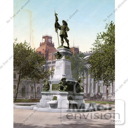 #41109 Stock Photo Of The Statue Of Paul Chomedey Created By Artist Louis-Philippe Hebert With Lambert Closse And His Dog On The Base, In Place D'armes In Montreal, Quebec, Canada by JVPD