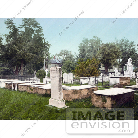 #41111 Stock Photo Of The Burial Stone Of Aaron Burr In Presidents Row In The Old Princeton Cemetery, New Jersey by JVPD