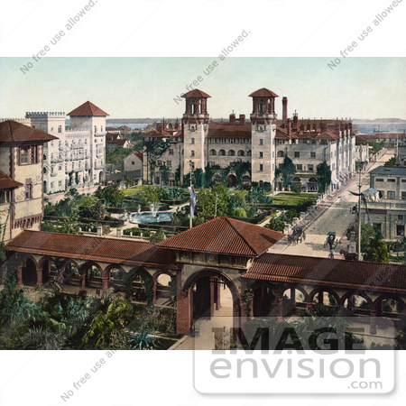 #41130 Stock Photo Of The Extravagant Grounds, Gates And Buildings Of The Alcazar Resort Hotel, Now Lightner Museum, In St. Augustine, Flrida by JVPD