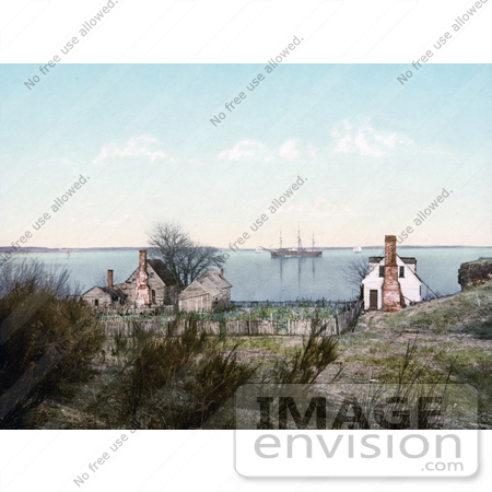 #41132 Stock Photo Of Homes On The Yorktown Harbor With A Ship In The Background, Yorktown, Virginia by JVPD