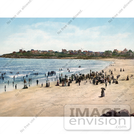 #41138 Stock Photo Of People Enjoying A Sunny Day On York Beach In Maine by JVPD