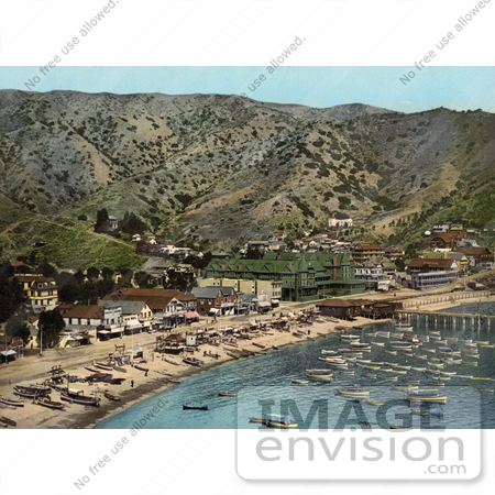 #41142 Stock Photo Of Boats In The Harbor In Front Of Hotels On The Beach Of Avalon Of Santa Catalina Island, California by JVPD