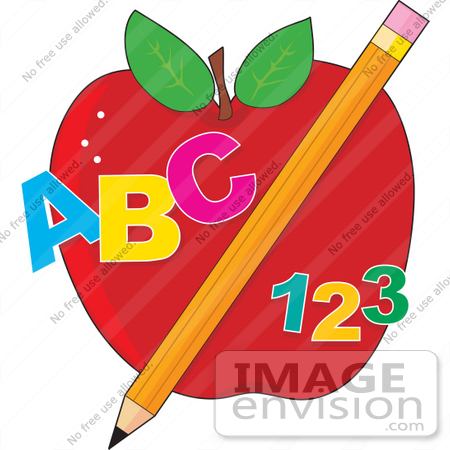 #41150 Clip Art Graphic of ABC and 123 With a Pencil in Front of an Apple by Maria Bell