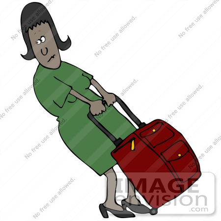 #41154 Clip Art Graphic of an African American Woman Trying To Budge Her Heavy Rolling Suitcase by DJArt