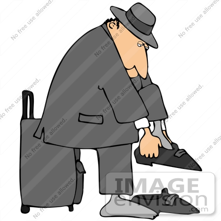 #41155 Clip Art Graphic of a Caucasian Man Putting His Shoes And Socks On And Leaning Against His Rolling Suitcase by DJArt