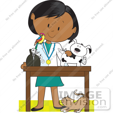 #41176 Clip Art Graphic of a Female Latina Or African American Veterinarian With A Cat At Her Feet And A Bird On Her Shoulder, Treating An Injured Puppy by Maria Bell