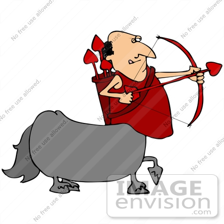 #41178 Clip Art Graphic of a Centaur Cupid Man Shooting Heart Arrows On Valentine's Day by DJArt