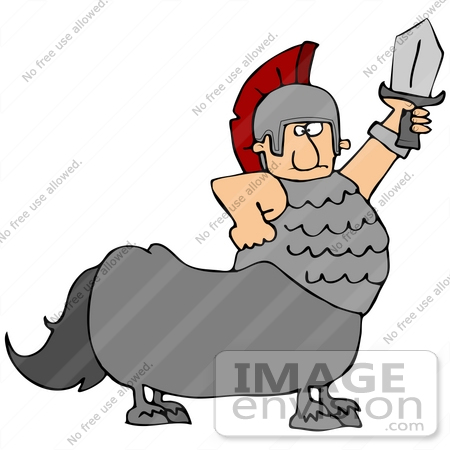 #41180 Clip Art Graphic of a Centaur Roman Soldier Man With A Sword by DJArt