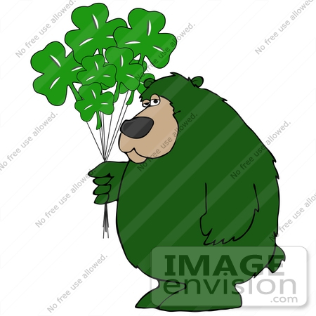 Clip Art Graphic of a Green St Patrick's Day Bear With Clover ...