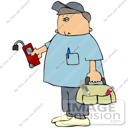 #41186 Clip Art Graphic of a Gas Utility Technician Carrying A Tool Bag And Checking For Leakage With A Meter by DJArt
