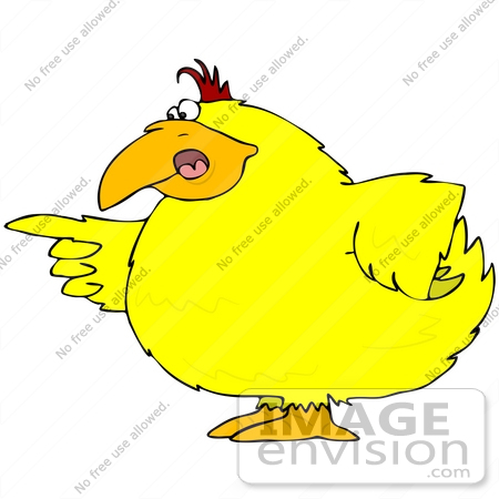 #41205 Clip Art Graphic of a Yellow Bird Pointing His Finger And Blaming Someone Of Something by DJArt