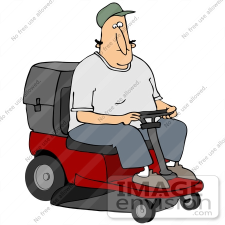 #41207 Clip Art Graphic of a Caucasian Man Driving A Red Riding Lawn Mower by DJArt