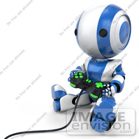 #41214 Clip Art Graphic of a 3d Blue Robot Using a Controller to Play a