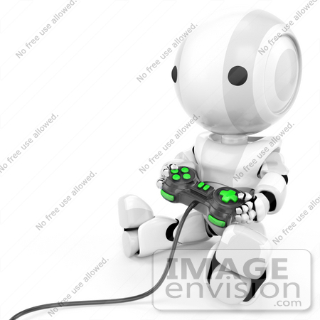 #41215 Clip Art Graphic of a 3d White Robot Using a Controller to Play a