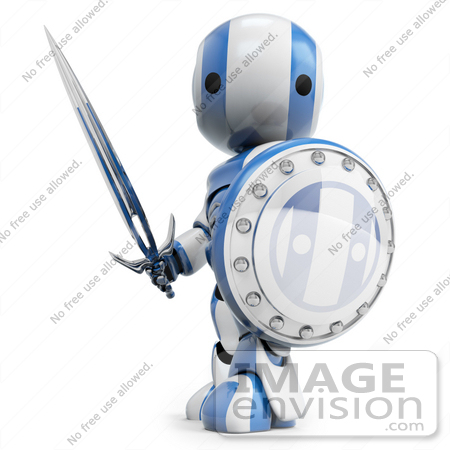 #41218 Clip Art Graphic of a 3D Blue and White Robot With a Sword and Shield by Jester Arts