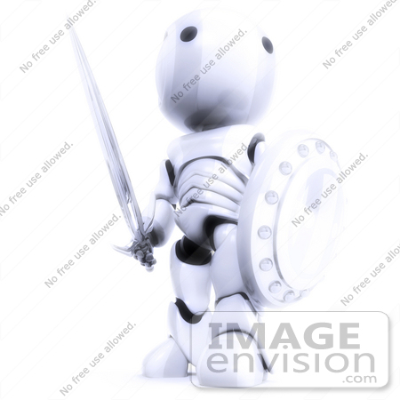 #41219 Clip Art Graphic of a 3D White Robot With a Sword and Shield by Jester Arts
