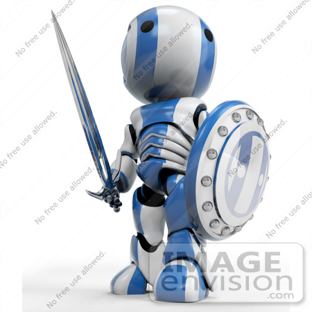 #41221 Clip Art Graphic of a 3D Blue And White Robot Looking Up And Away While Standing With With A Sword And Shield by Jester Arts