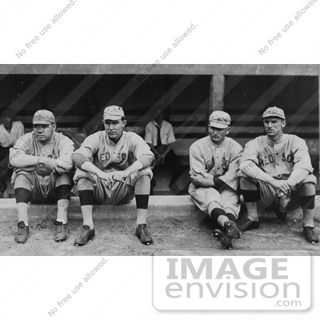 #41223 Stock Photo of Four Baseball Players, Babe Ruth, Ernie Shore, Rube Foster, And Del Gainer Of The Boston Red Sox, Sitting Together by JVPD
