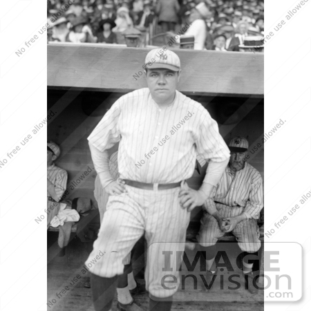 #41228 Stock Photo of Babe Ruth Standing Near A Dugout, Posing In His New York Yankees Uniform by JVPD