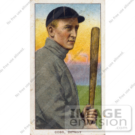 41252 Stock Illustration Of A Vintage Baseball Card Detroit Tigers Player Ty Cobb