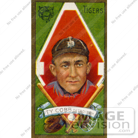 #41254 Stock Illustration of a Vintage Baseball Card Of Ty Cobb Of The Detriot Tigers, With Baseball Gear, Over Green by JVPD
