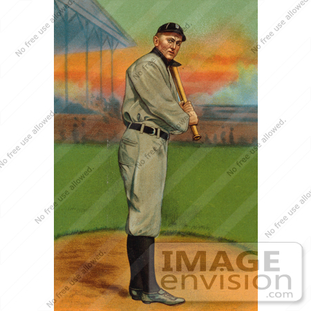 #41255 Stock Illustration of a Vintage Detroit Tigers Baseball Card Of Ty Cobb Up For Bat by JVPD