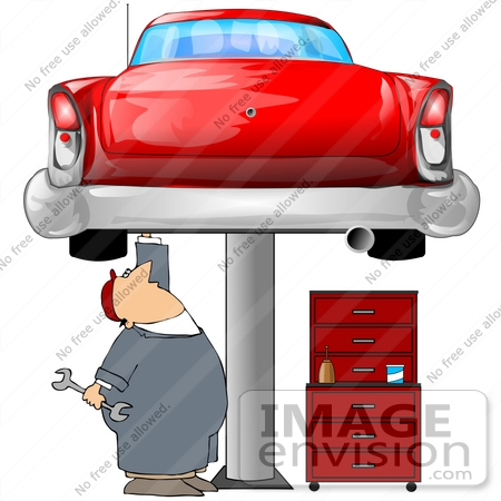 Clip Art Graphic of a Caucasian Male Auto Mechanic Under A Red ...