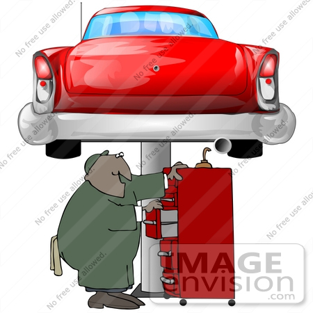 Clip Art Graphic of an African American Male Auto Mechanic ...
