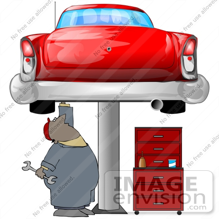 #41261 Clipart Illustration of an African American Male Auto Mechanic Under A Red Classic Car Up On A Lift In A Garage by DJArt