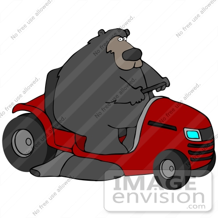 #41269 Clip Art Graphic of a Bear Operating A Big Red Riding Lawn Mower by DJArt