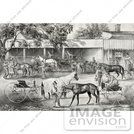 #41281 Stock Illustration of People Gathering Water For Their Hoses While Stopping In A Village by JVPD