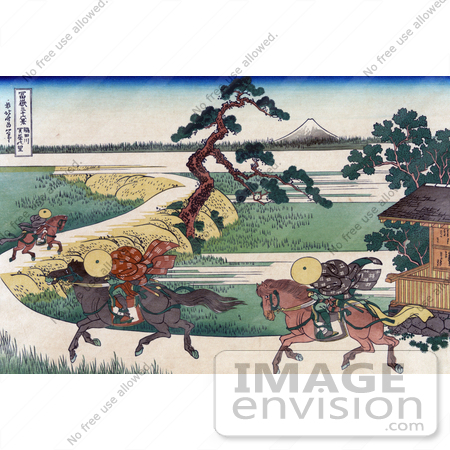 #41284 Stock Illustration of Three People On Horseback, Galloping Along The Sumida River, With Mount Fuji In The Distance by JVPD
