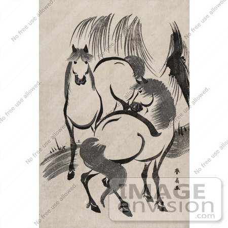 #41296 Stock Illustration of a Scan Of A Japense Woodcut Of Two Horses Near A Willow Tree by JVPD
