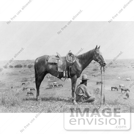 #41310 Stock Photo of a Cowboy Seated In Front Of His Saddled Horse On A Hill, Overlooking Horses In Bonham, Texas, 1910 by JVPD